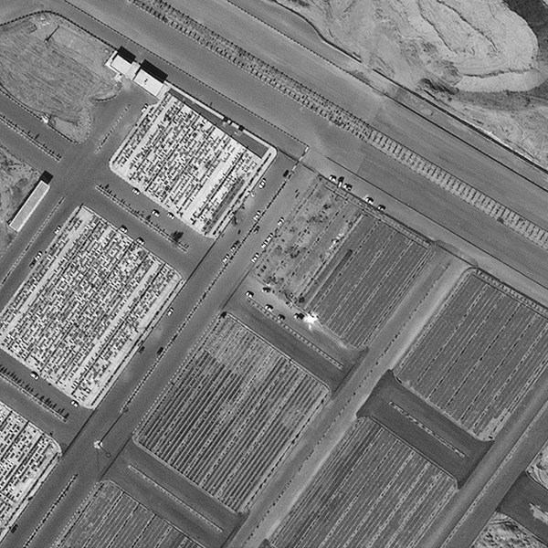 Satellite image of a cemetery in Qom appears to show new burial plots that were not in images taken before the coronavirus outbreak. Satellite image ©2020 Maxar Technologies)
