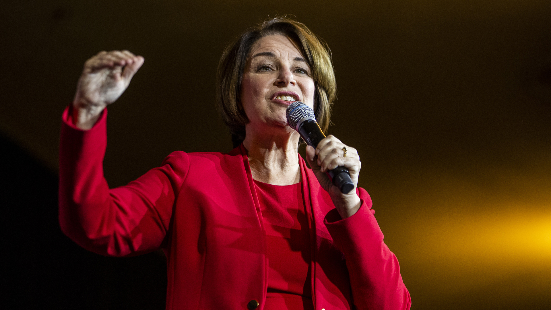Democratic Presidential Candidate Sen. Amy Klobuchar (D-MN) speaks during a campaign rally at the Altria Theatre on February 29, 2020 in Richmond, Virginia. (Zach Gibson/Getty Images)