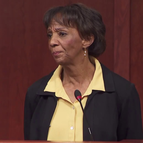 Jackie Lacey holds a news conference at the Hall of Justice on March 2, 2020. (KTLA)