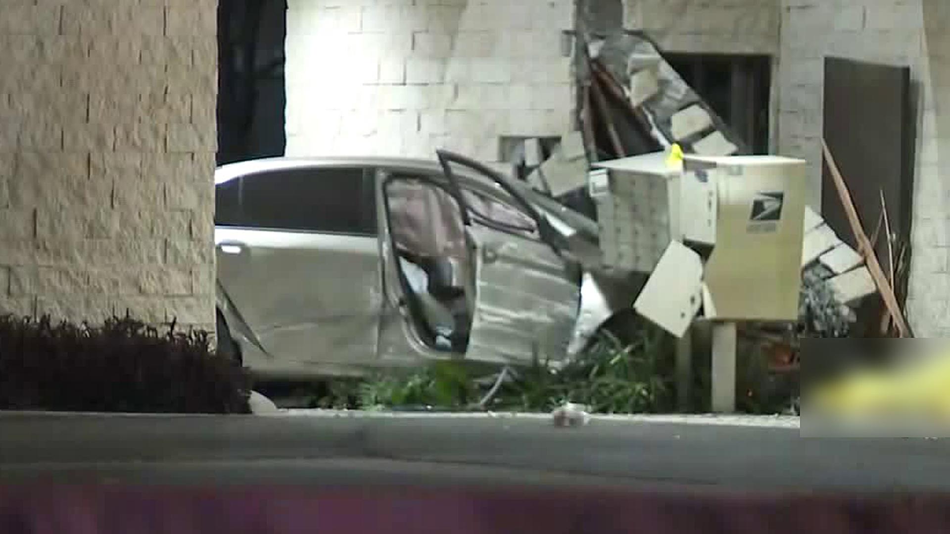 A pursuit ended in a fatal crash in Los Alamitos on March 12, 2020. (KTLA)