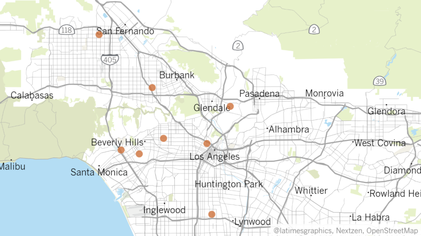 A map shows the locations where eight temporary shelters for homeless people were expected to open on March 20, 2020 as the coronavirus outbreak worsens. (Ben Poston/Los Angeles Times)