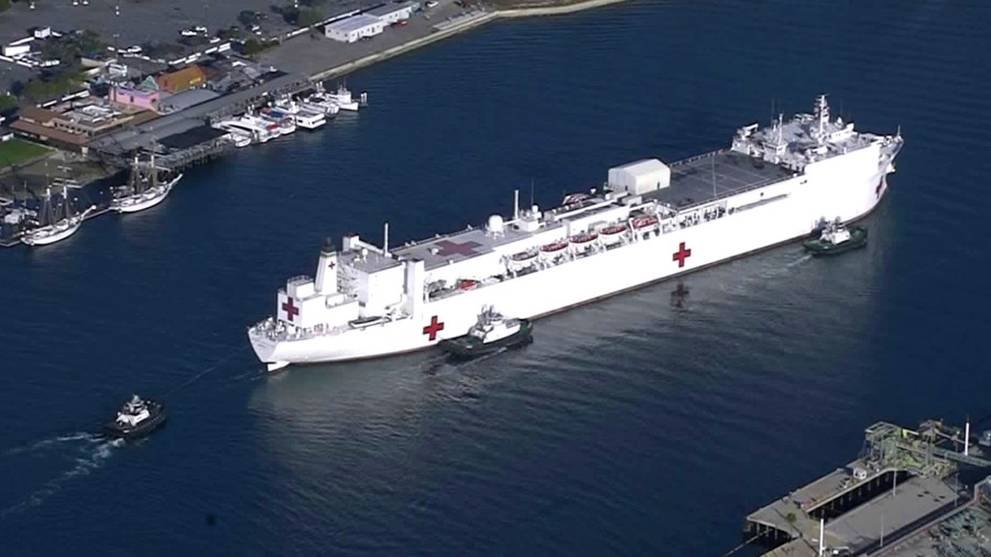 The USNS Mercy arrives at the Port of Los Angeles on March 27, 2020, to provide critical support to local hospitals amid the coronavirus pandemic. (KTLA)