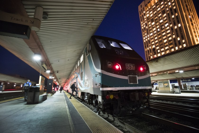 A Metrolink train departs Los Angeles' Union Station in 2017.(Allen J. Schaben / Los Angeles Times)
