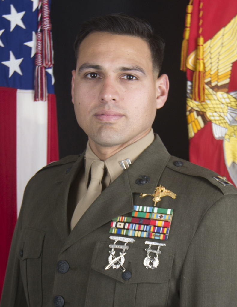 Capt. Moises A. Navas appears in a photo released by the U.S. Marines on March 10, 2020.