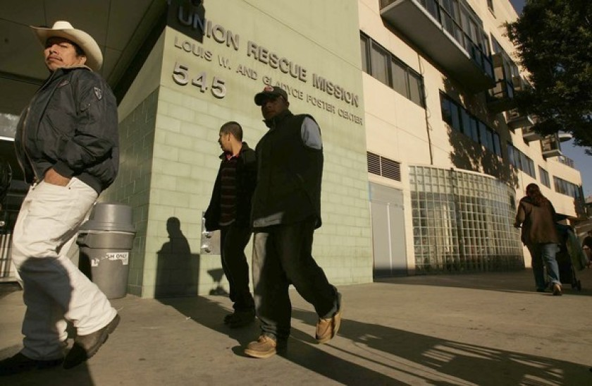 The Union Rescue Mission in Skid Row is shown in an undated photo. (Al Seib / Los Angeles Times)