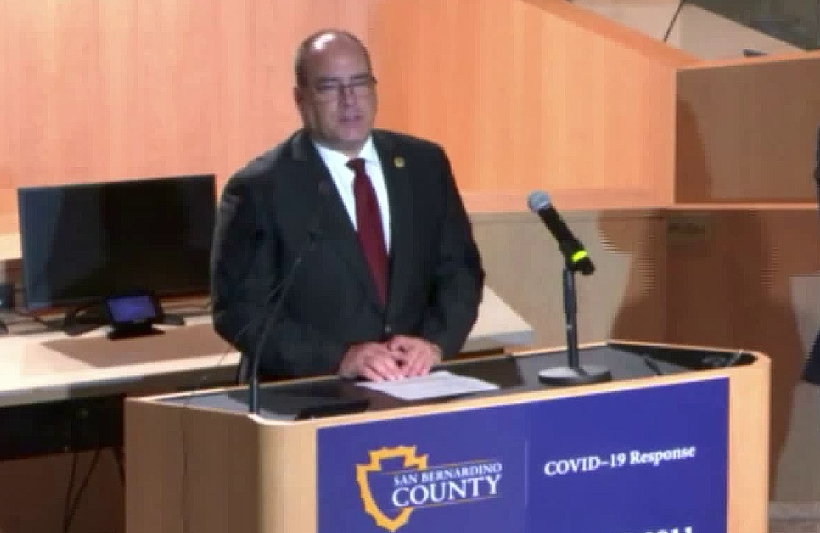 4th District Supervisor Curt Hagman speaks during a news conference on March 25, 2020. (KTLA)