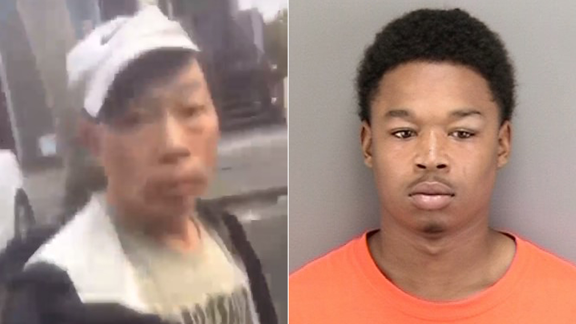 Suspect Dwayne Grayson, right, and the unidentified victim in a beating on the street on in San Francisco are seen in images released by the San Francisco Police Department.