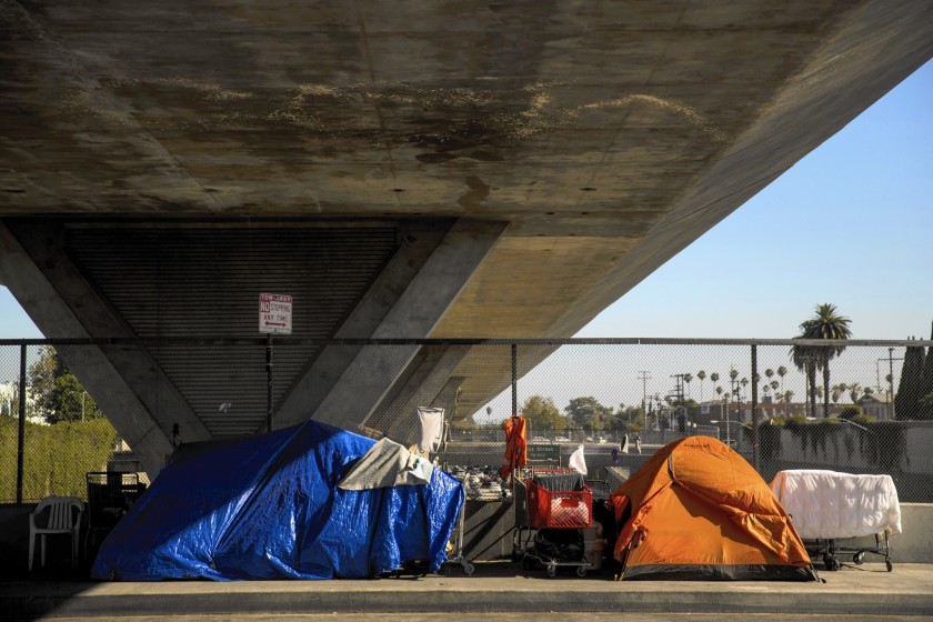 A homeless encampment is seen under the 110 Freeway in this undated photo. (Kent Nishimura / Los Angeles Times)