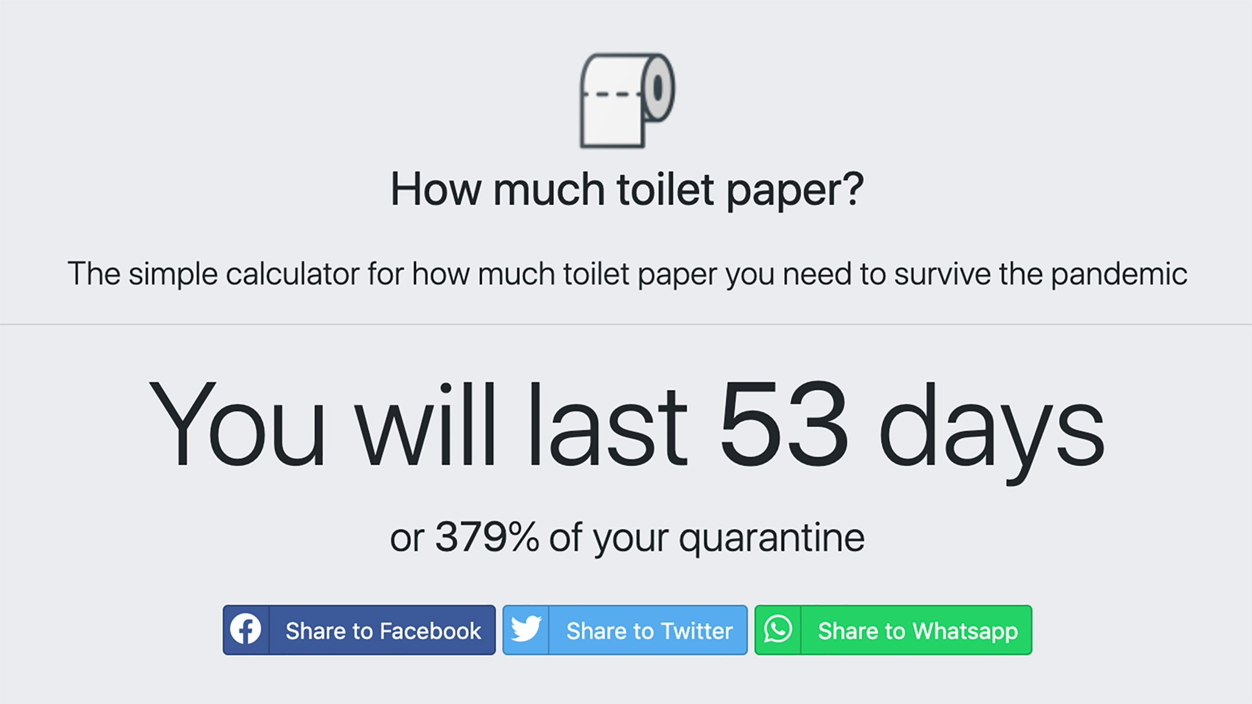 Howmuchtoiletpaper.com calculates just how long your stash of toilet paper will last you during a quarantine. (howmuchtoiletpaper.com via CNN Wire)
