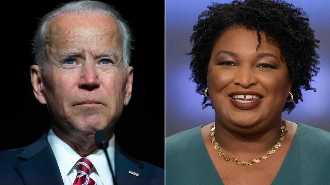 Joe Biden and Stacey Abrams are pictured. (CNN)