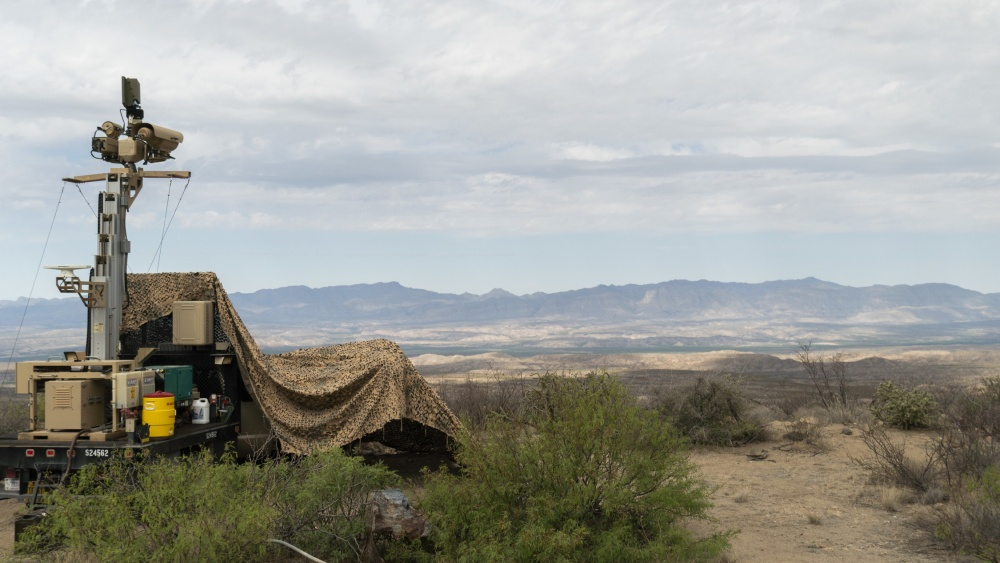 This April 4, 2019, photo provided by the U.S. Army shows a mobile surveillance camera system manned by soldiers near the Presidio Border Patrol Station at Presidio, Texas.