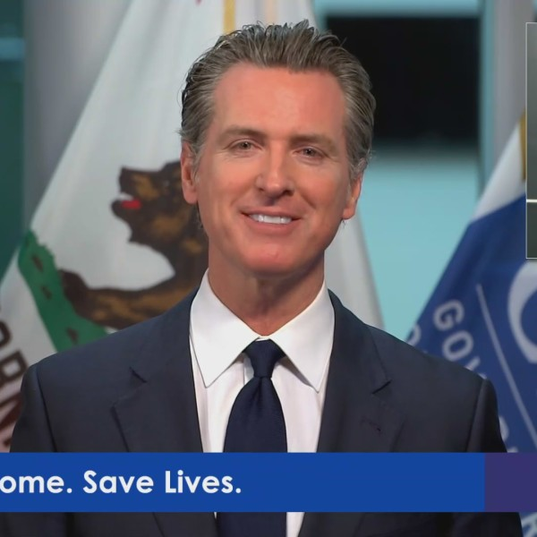 Gov. Gavin Newsom speaks on April 28, 2020. (Pool feed)