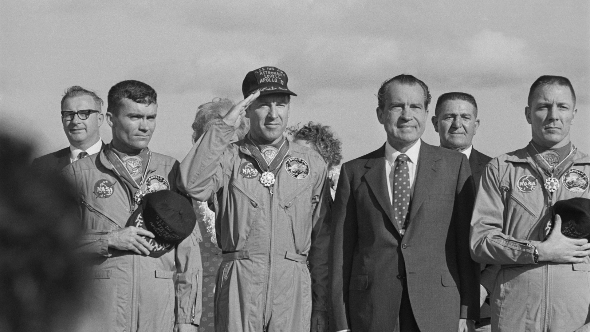 US President Richard Nixon meets the Apollo 13 astronauts in Honolulu, Hawaii, after their safe return to Earth, 23rd April 1970. From left to right (front row) Fred Haise, Jim Lovell, Richard Nixon (1913 - 1994) and Jack Swigert (1931 - 1982). (Harry Benson/Daily Express/Getty Images)