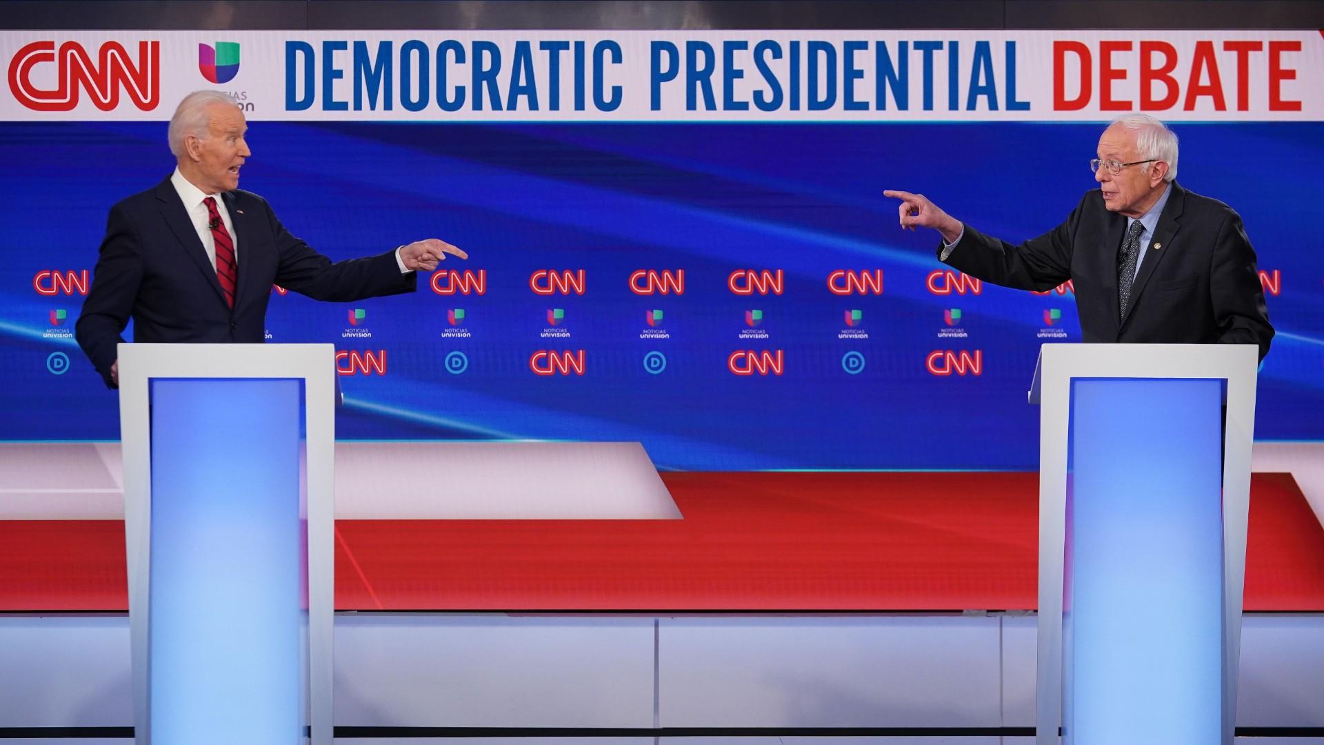 Democratic presidential hopefuls former US vice president Joe Biden (L) and Vermont Senator Bernie Sanders (R) take part in the 11th Democratic Party 2020 presidential debate in a CNN Washington Bureau studio in Washington, DC on March 15, 2020. (Mandel Ngan/AFP/Getty Images)
