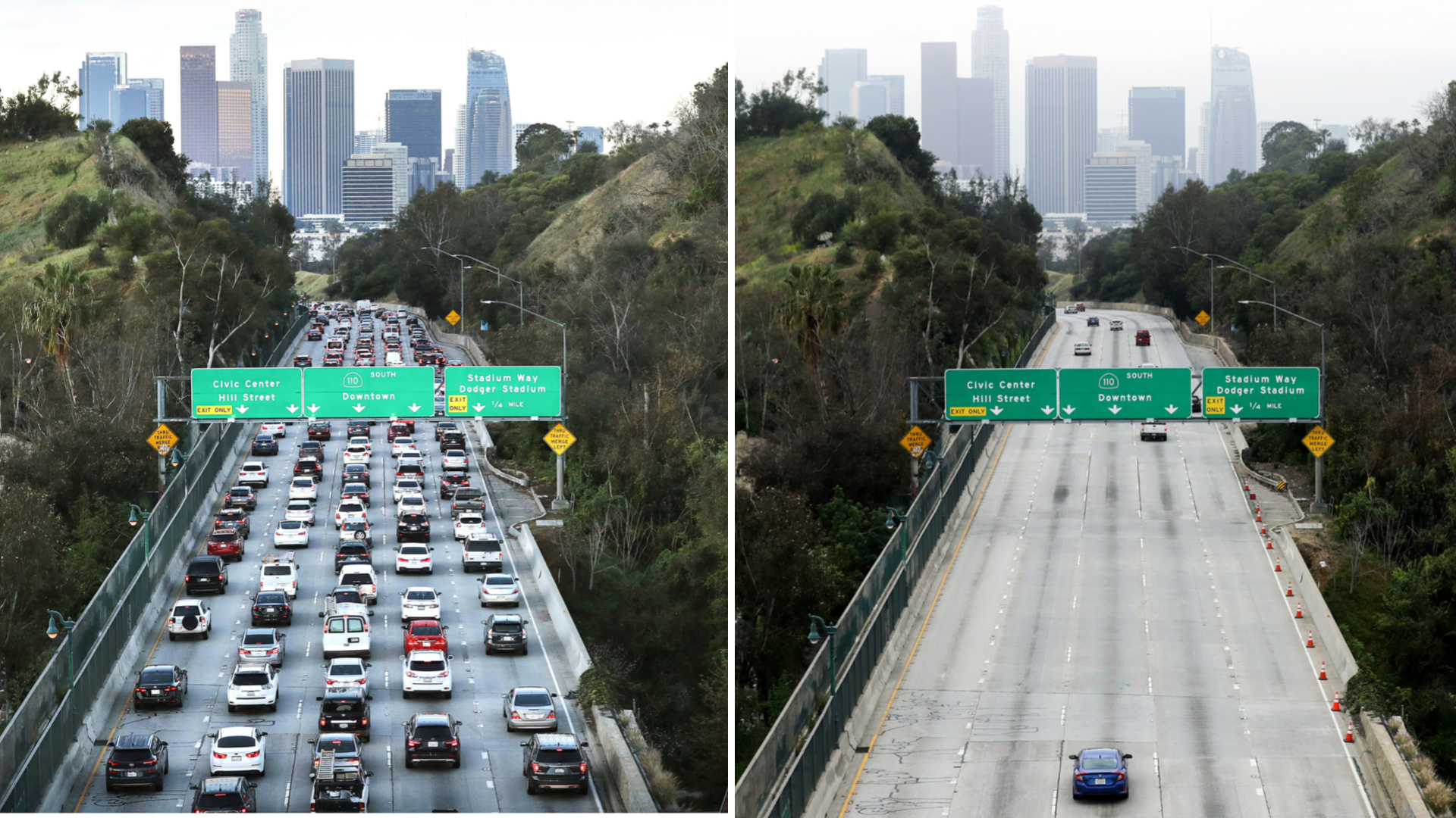On the left, the 110 Freeway is seen on March 12, 2020, in Los Angeles, California. On the right, it is seen during what is normally morning rush hour amidst the coronavirus pandemic on April 17, 2020. (Mario Tama/Getty Images)