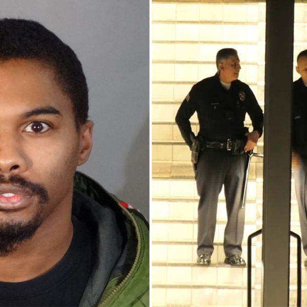 Brandon Hinton, 26, is seen in an undated booking photo provided by the Los Angeles Police Department. On the right, officers investigate the scene of a deadly shooting on January 20, 2020. (Onscene.TV)