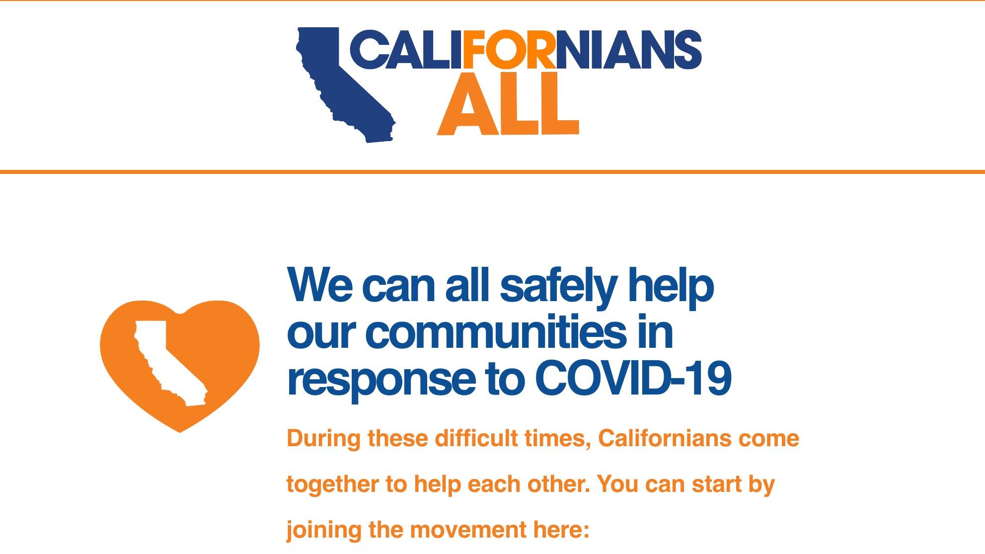"A screenshot of the ""Californians For All"" website."