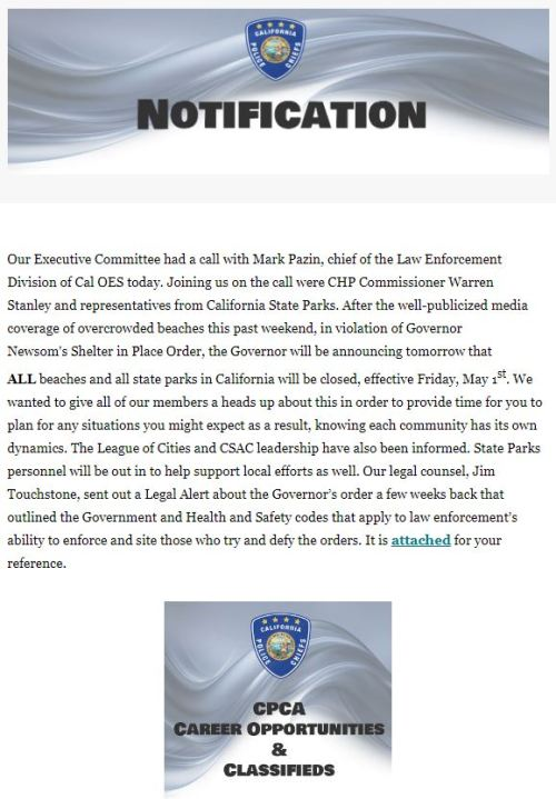 A memo distributed to the California Police Chiefs' Association on April 29, 2020.