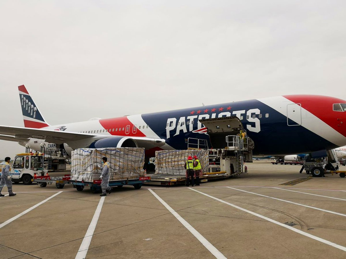 Massachusetts Gov. Charlie Baker tweeted a photo of the plane being loaded with the personal protective equipment that he said would go to the state's healthcare workers on the front lines of the coronavirus crisis.