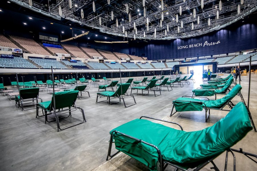 Cots are seen at the Long Beach Sports Arena, which was turned into a field hospital amid the coronavirus pandemic. (City of Long Beach/ Twitter)