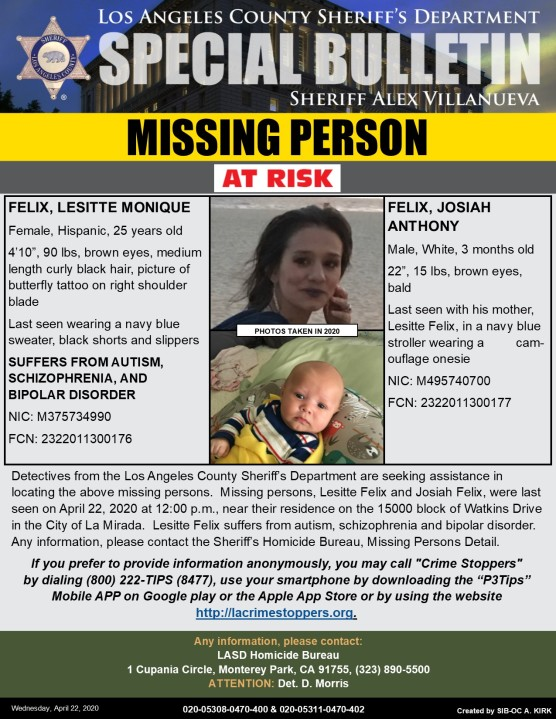 Los Angeles County Sheriff's Department missing persons flier, issued April 22, 2020.