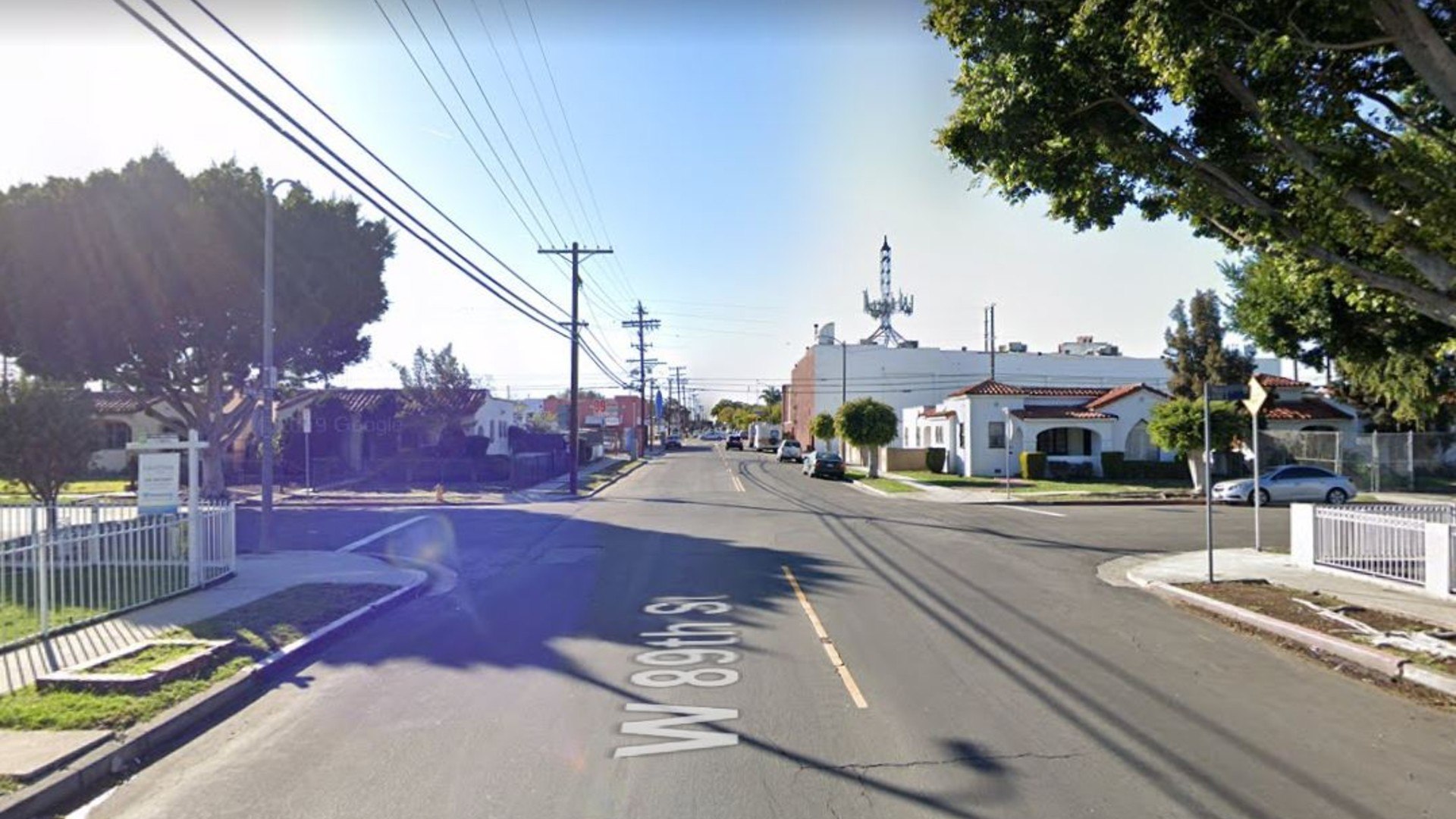 The intersection of 89th Street and Hobart Avenue in the Gramercy Park neighborhood of South Los Angeles, as pictured in a Google Street View image.
