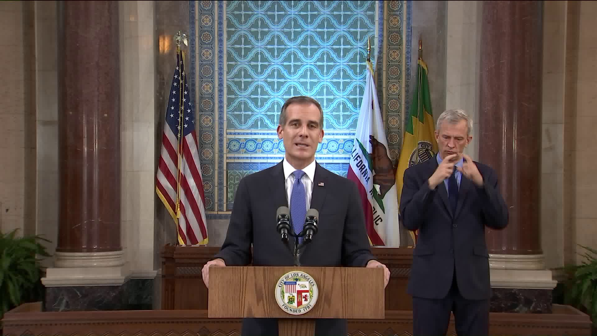 Los Angeles Mayor Eric Garcetti delivers the State of the City address on April 19, 2020. (KTLA)