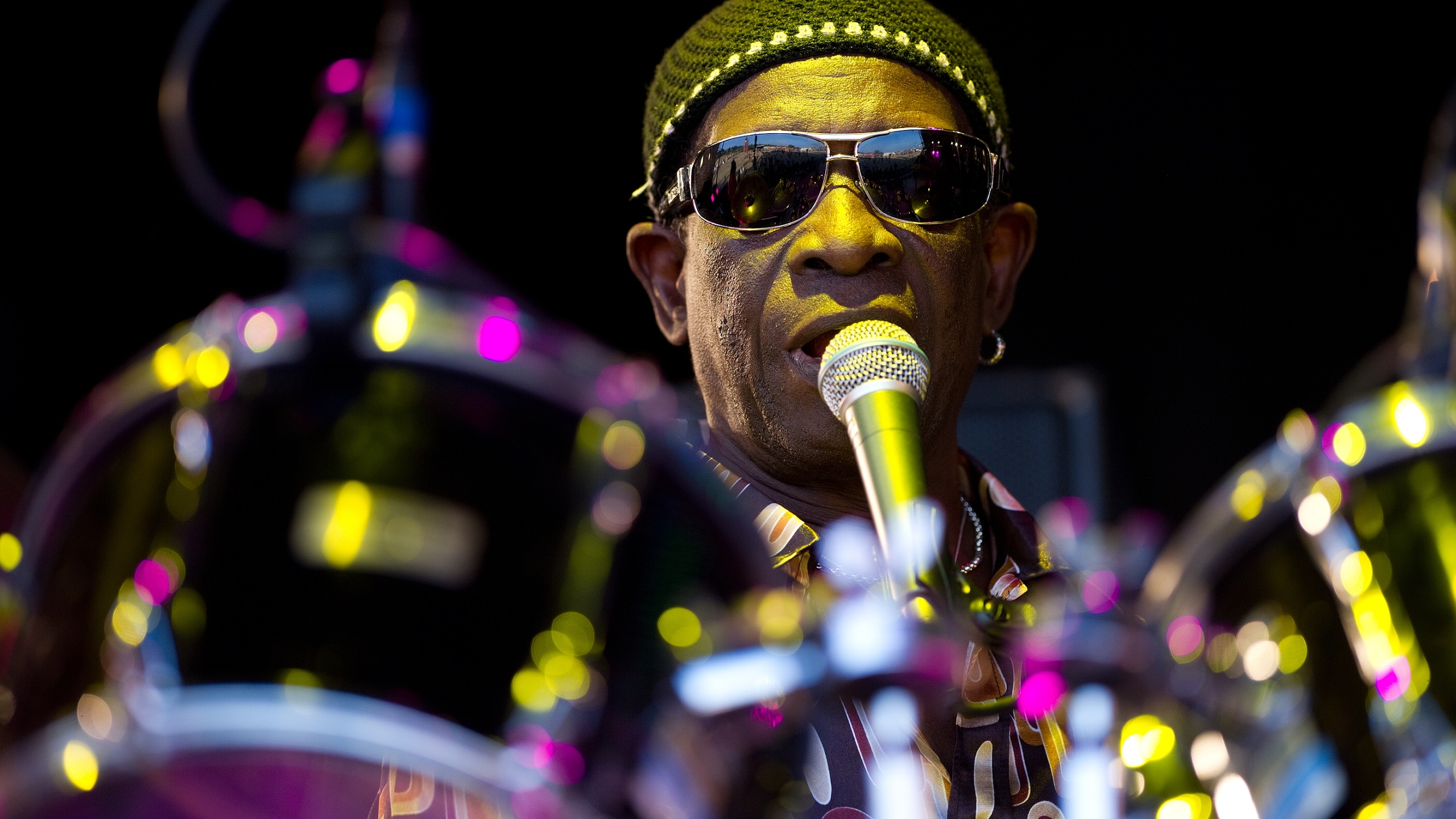 Nigerian drummer Tony Allen performs at the Glastonbury festival near Pilton, England, on June 27, 2010. (Credit: Leon Neal / AFP / Getty Images)