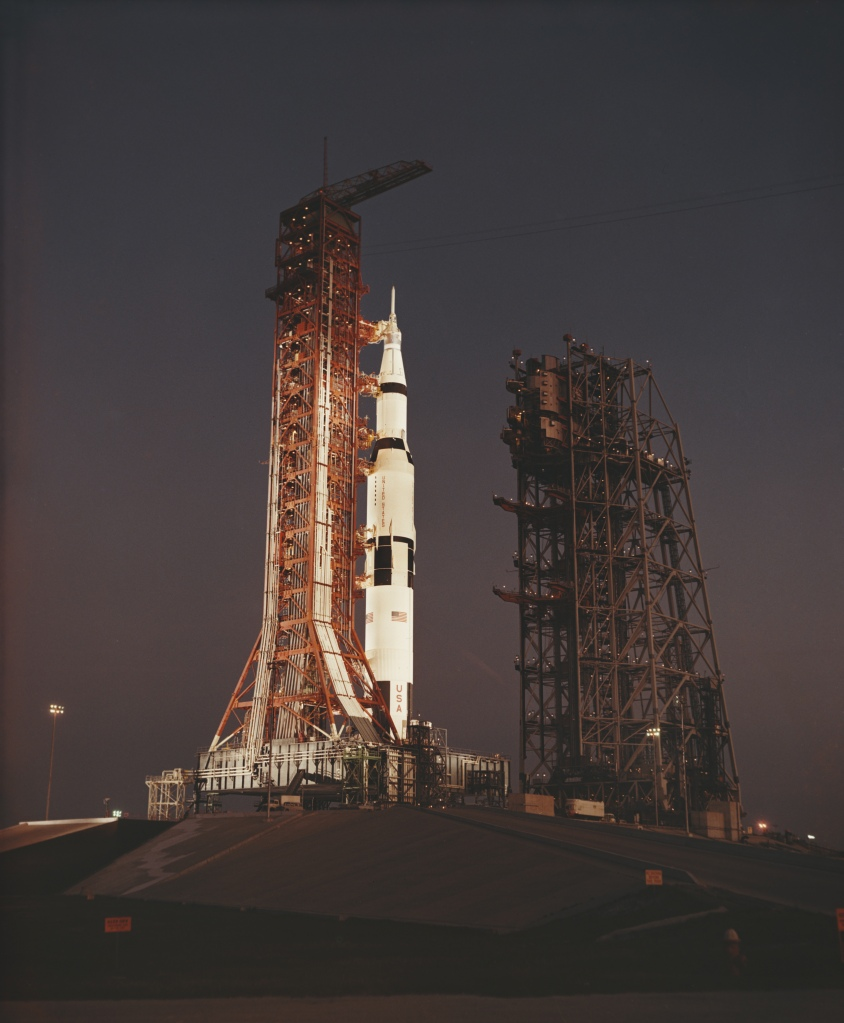 The MSS (Mobile Service Structure) moves back from Launch Complex 39A at Cape Kennedy in Florida, during the terminal phase of the CDDT (Countdown Demonstration Test) for NASA's Apollo 13 mission, March 1970. This is a practice run for the launch scheduled for 11th April. (Space Frontiers/Getty Images)