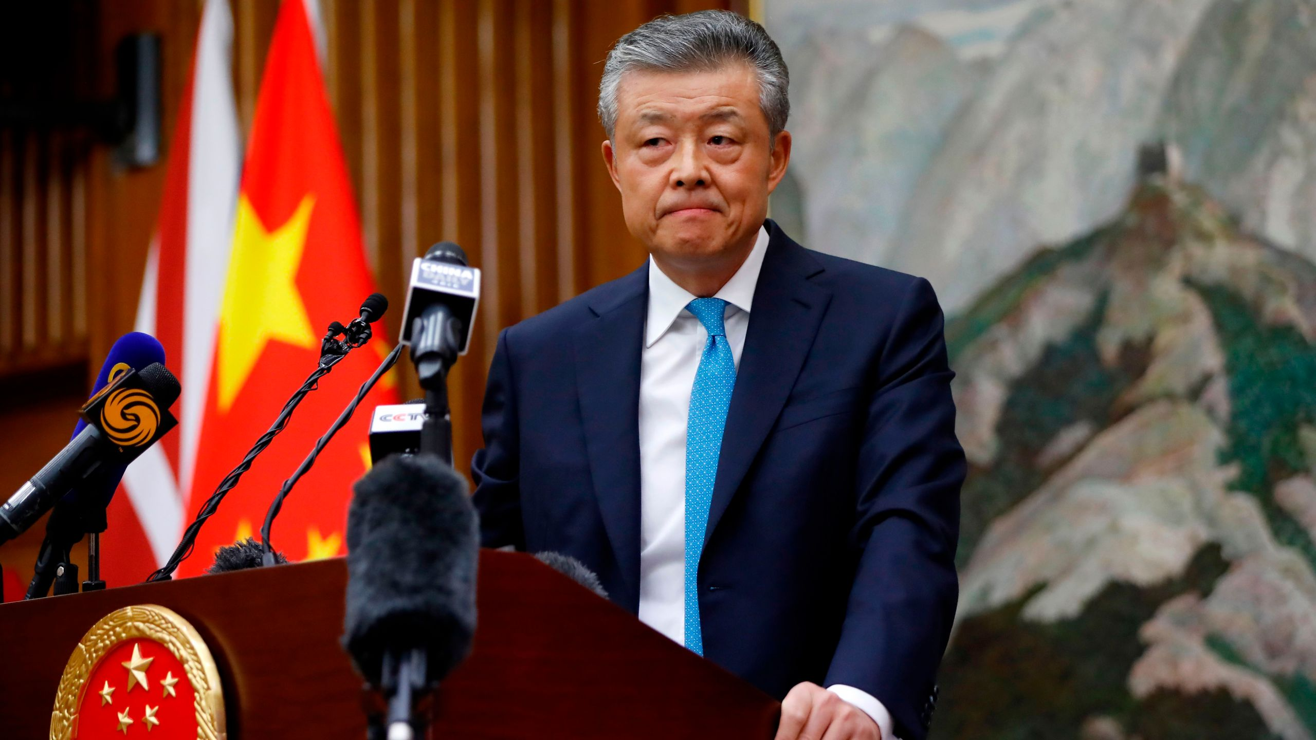 China's ambassador to Britain Liu Xiaoming takes questions from members of the media at the Chinese Embassy in London on Feb. 6, 2020, during a press conference relating to the COVID-19 outbreak in Wuhan, Hubei province. (TOLGA AKMEN/AFP via Getty Images)