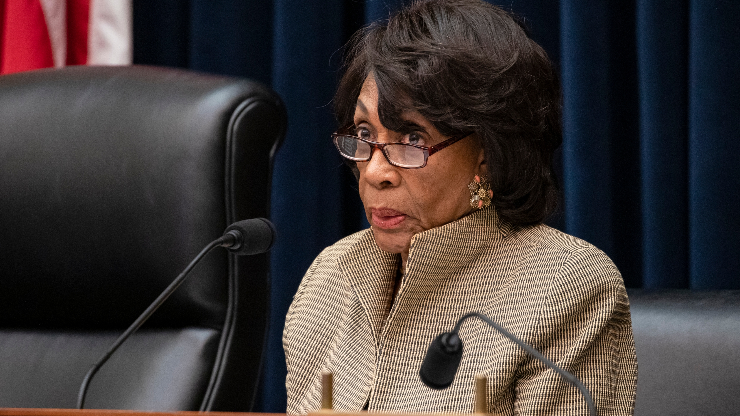Chairwoman Rep. Maxine Waters (D-CA) questions former members of the Wells Fargo's Board of Directors Elizabeth Duke and James Quigley during a House Financial Services Committee hearing on March 11, 2020. (Samuel Corum/Getty Images)