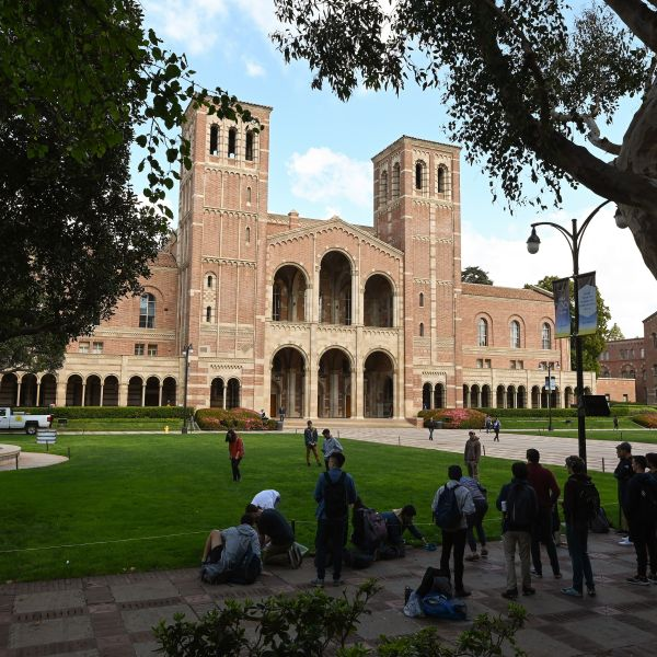 Students participate in an activity near Royce Hall on the UCLA campus on March 11, 2020. (Robyn Beck / AFP / Getty Images)