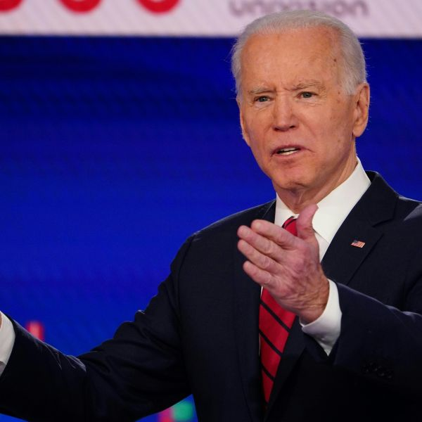 Democratic presidential hopeful former U.S. vice president Joe Biden makes a point as he and Senator Bernie Sanders take part in the 11th Democratic Party 2020 presidential debate in a CNN Washington Bureau studio in Washington, DC on March 15, 2020. (Mandel NGAN / AFP / Getty Images)