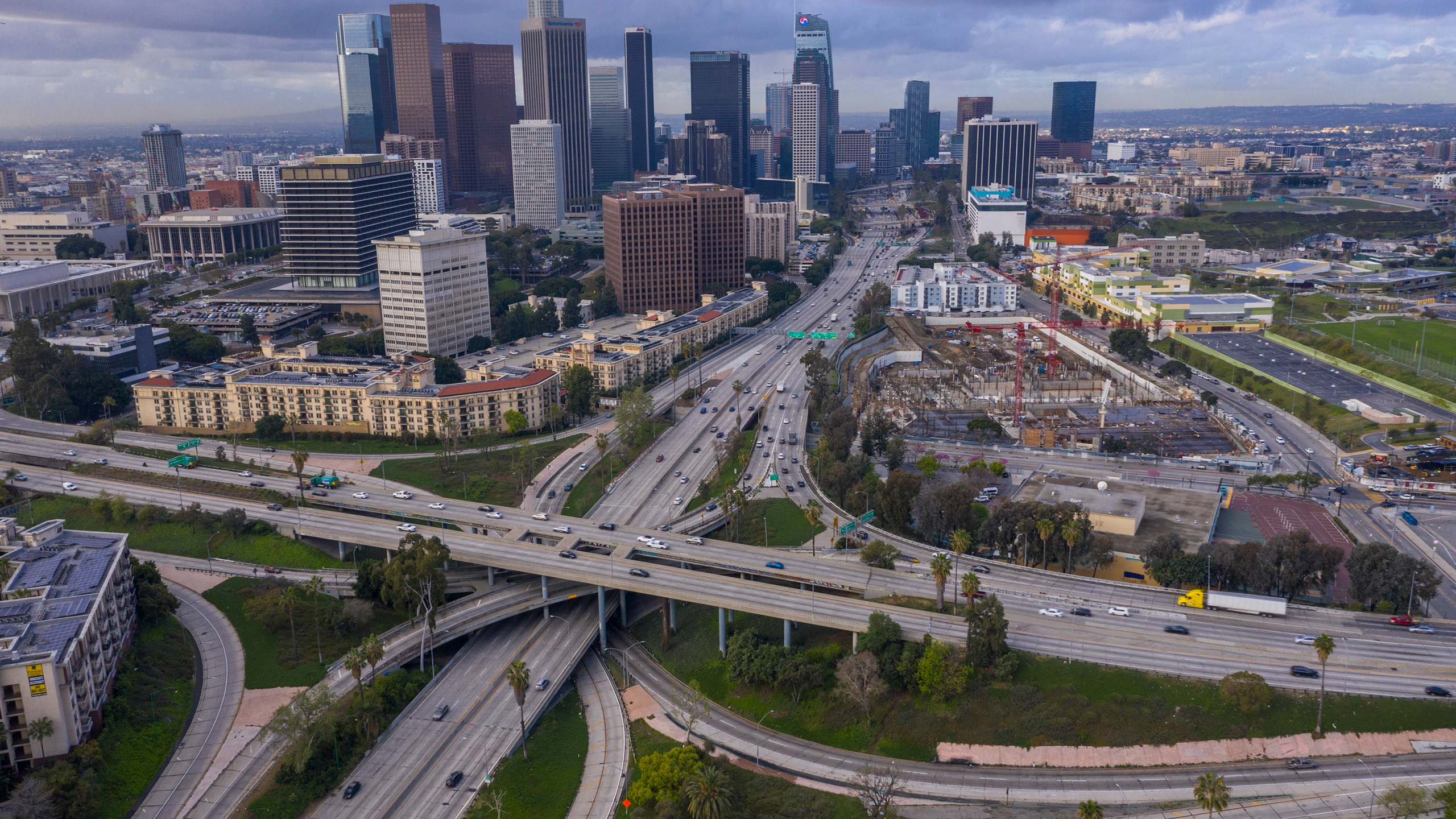 Freeway traffic flows lighter than usual on the 110 and 101 freeways before the new restrictions went into effect at midnight as the coronavirus pandemic spreads on March 19, 2020 in Los Angeles. (David McNew/Getty Images)