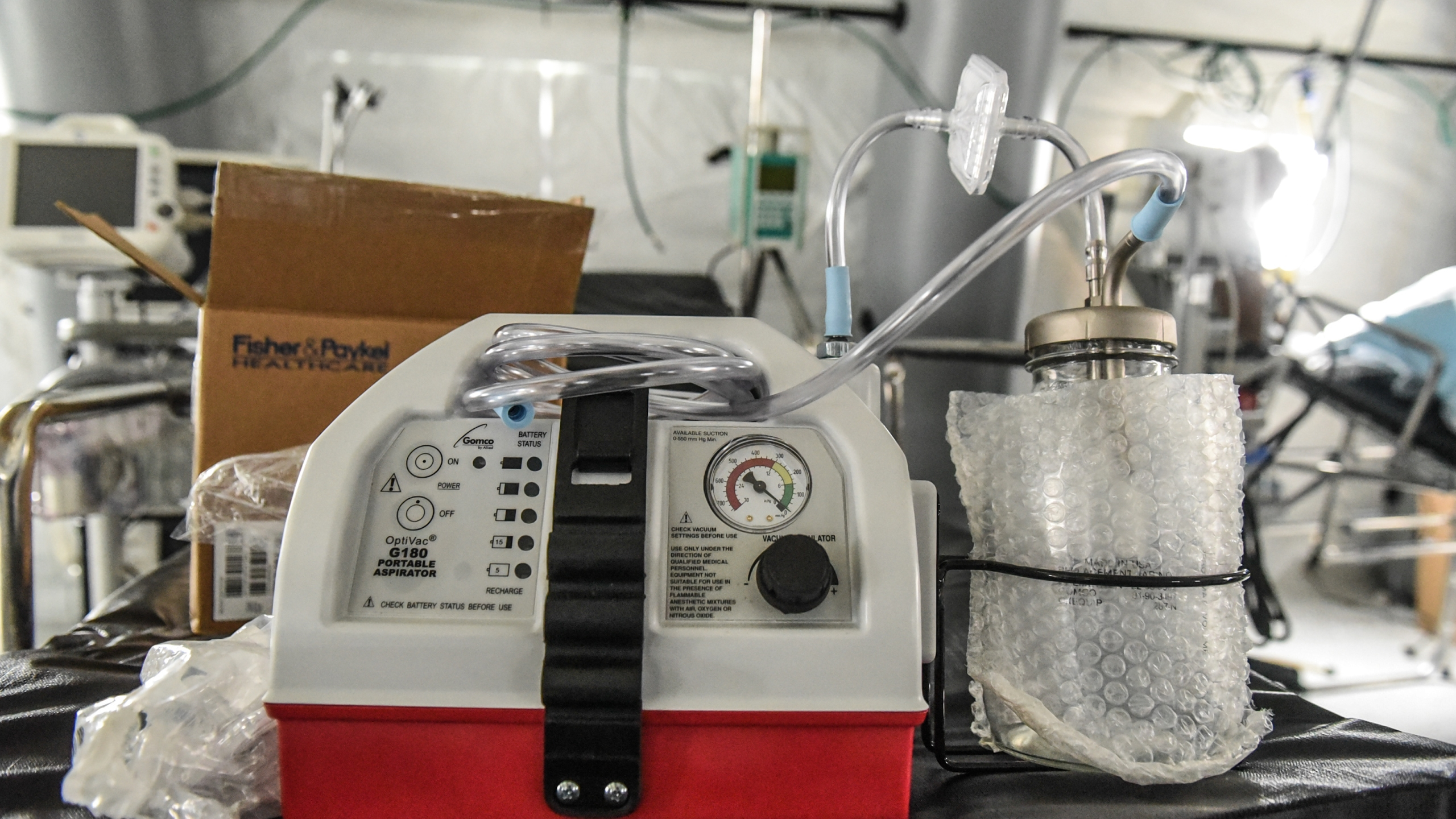 A ventilator and other hospital equipment is seen in an emergency field hospital to aid in the COVID-19 pandemic in Central Park on March 30, 2020, in New York City. (Stephanie Keith/Getty Images)