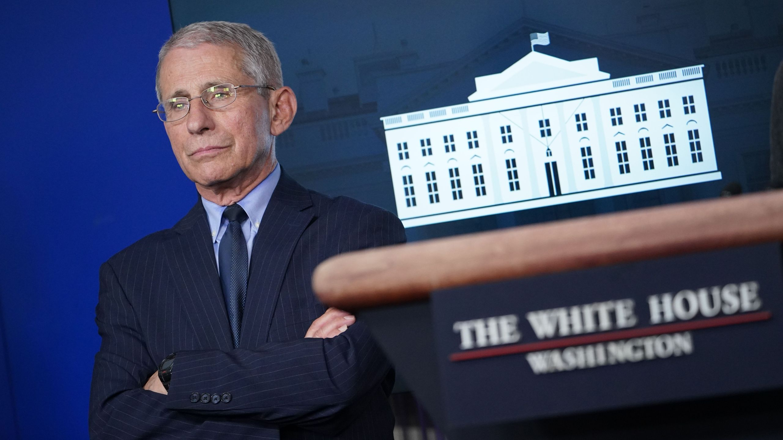 Director of the National Institute of Allergy and Infectious Diseases Anthony Fauci looks on during the daily briefing on the novel coronavirus, COVID-19, in the Brady Briefing Room at the White House on April 1, 2020, in Washington, DC. (MANDEL NGAN/AFP via Getty Images)