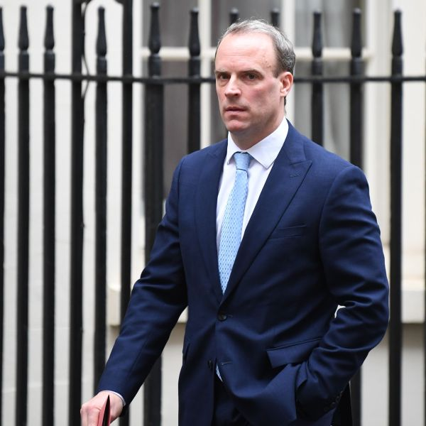 Britain's Foreign Secretary Dominic Raab leaves Downing street in central London on April 6, 2020. (DANIEL LEAL-OLIVAS/AFP via Getty Images)