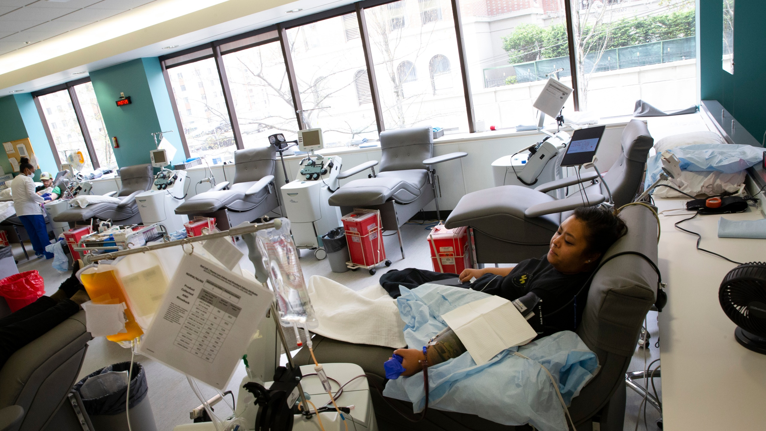Melissa Cruz donates convalescent plasma at Bloodworks Northwest on April 17, 2020 in Seattle, Washington. (Karen Ducey/Getty Images)