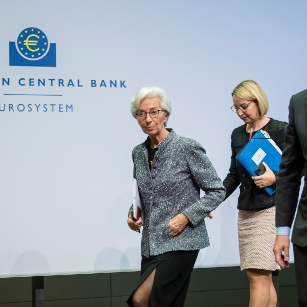 Christine Lagarde (L), President of the European Central Bank (ECB), and Vice President Luis de Guindos (R) leave the press conference following a meeting of the ECB governing board at ECB headquarters on March 12, 2020, in Frankfurt, Germany. (Thomas Lohnes/Getty Images)