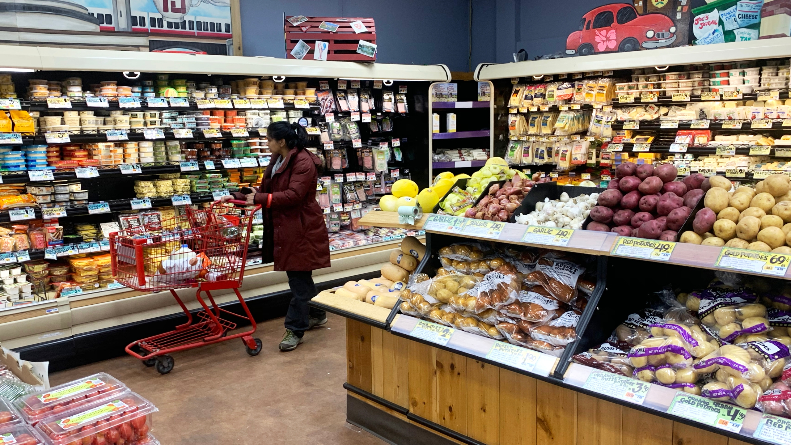 A woman shops at Trader Joes at on March 23, 2020 in Cambridge, Massachusetts. The store has begun limiting the capacity of shoppers allowed inside, and offering sanitizing wipes upon entry. (Maddie Meyer/Getty Images)