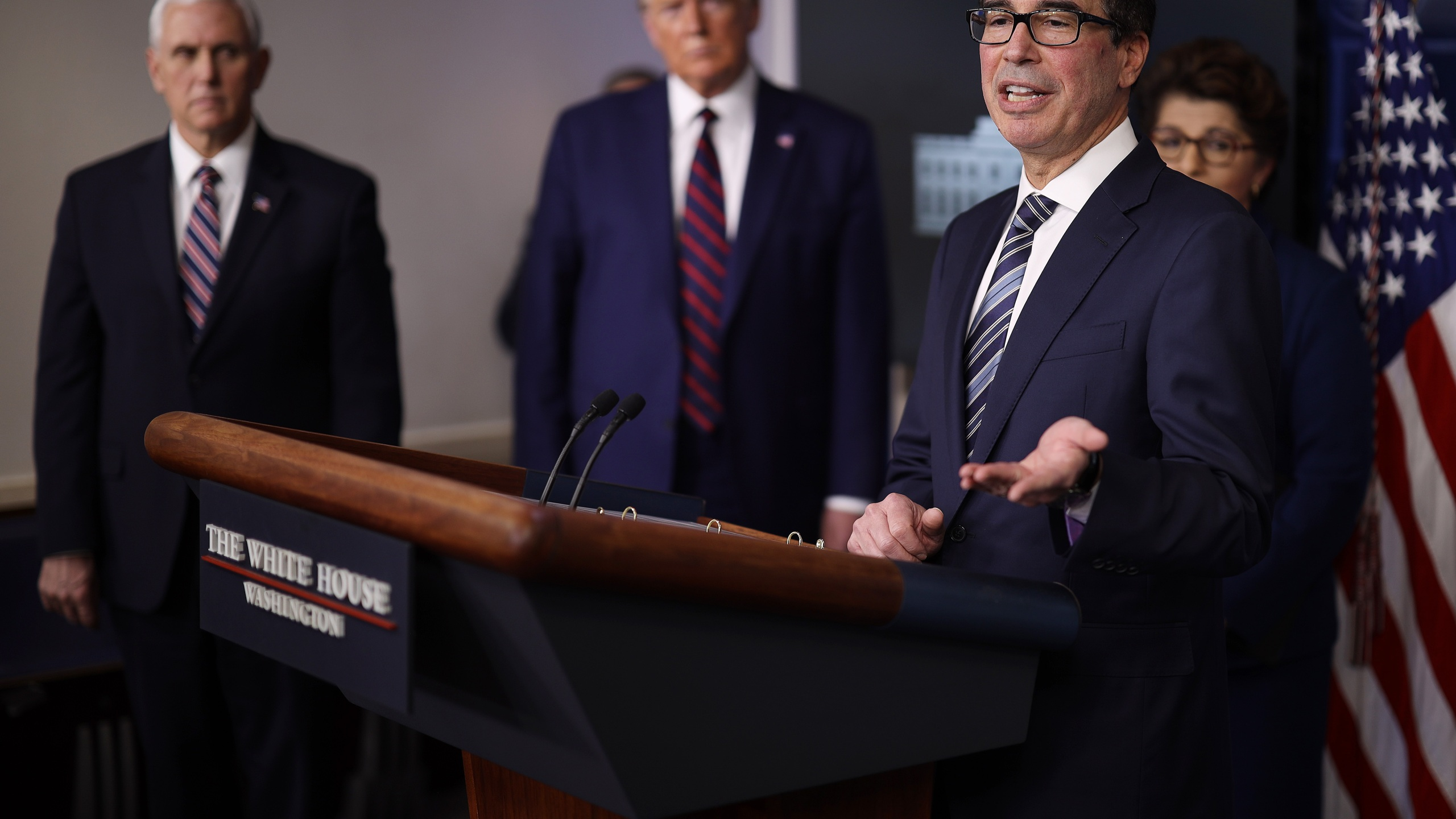 U.S. Treasury Secretary Steven Mnuchin speaks in the press briefing room with President Donald Trump, Vice President Mike Pence and Small Business Administrator Jovita Carranza during the Coronavirus Task Force briefing April 2, 2020, in Washington, D.C. (Win McNamee/Getty Images)