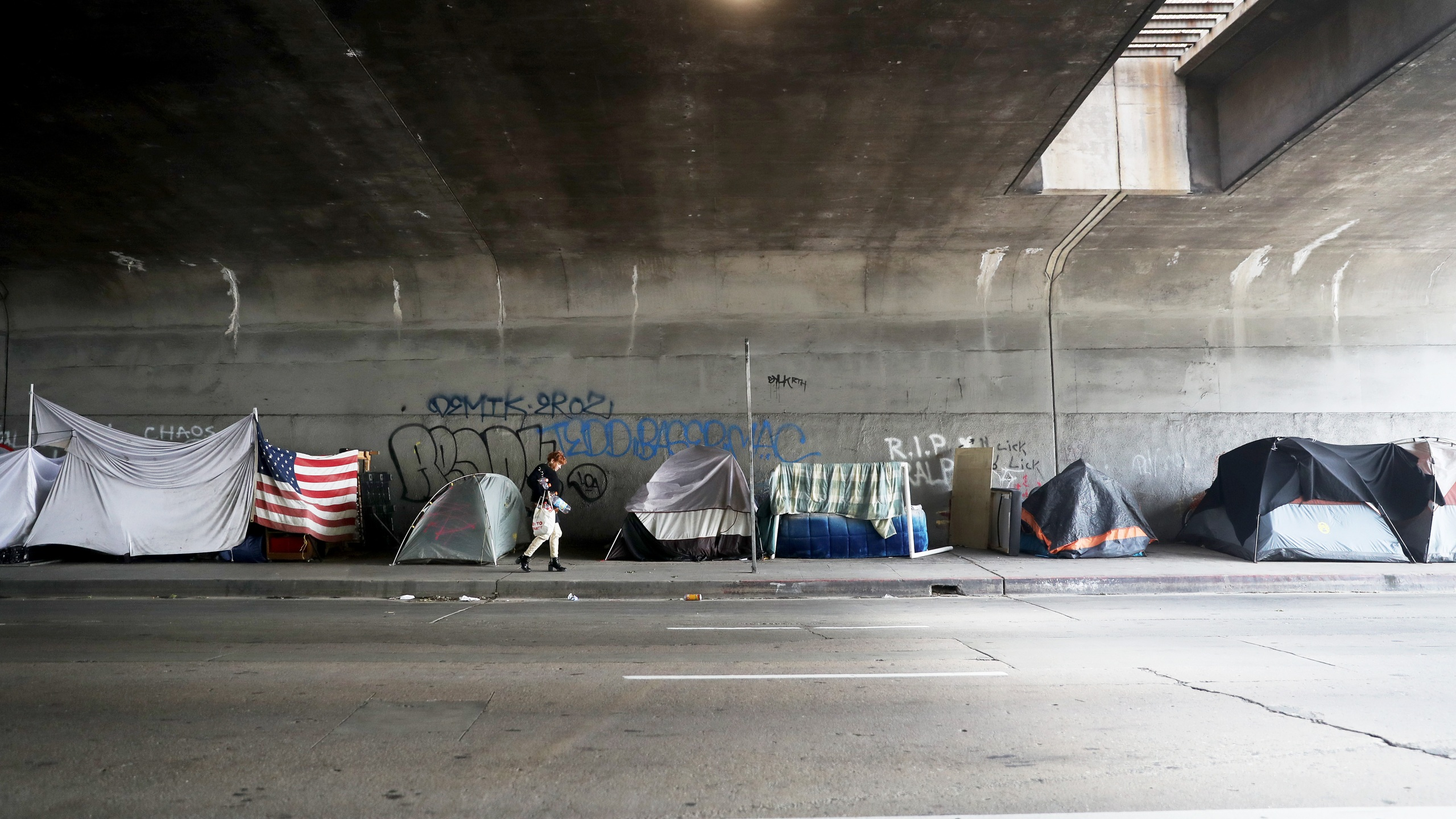 A woman walks past a homeless encampment beneath an overpass in Los Angeles, with an American flag displayed, amid the coronavirus pandemic on April 4, 2020. (Credit: Mario Tama / Getty Images)