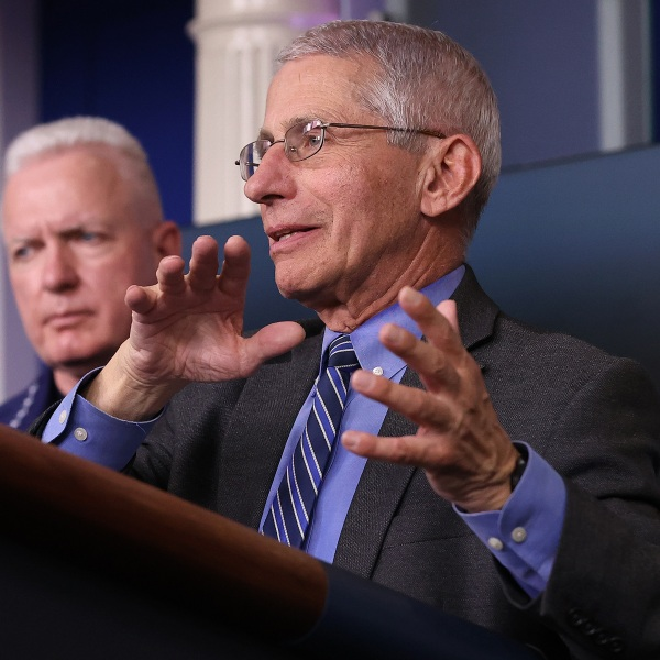 Dr. Anthony Fauci, director of the National Institute of Allergy and Infectious Diseases, speaks while flanked by Adm. Brett Giroir, assistant secretary of Health and Human Services, following a meeting of his coronavirus task force in the Brady Press BriefingRoom at the White House on April 6, 2020, in Washington, D.C. (Chip Somodevilla/Getty Images)