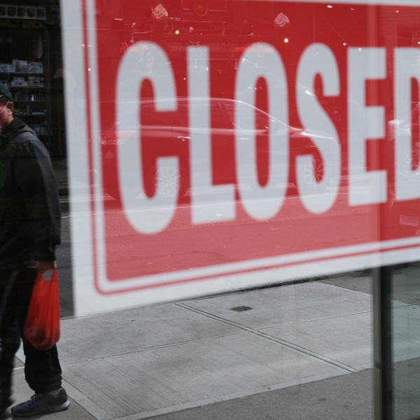 A store stands closed as the coronavirus keeps financial markets and businesses mostly closed on April 21, 2020, in New York City. (Spencer Platt/Getty Images)