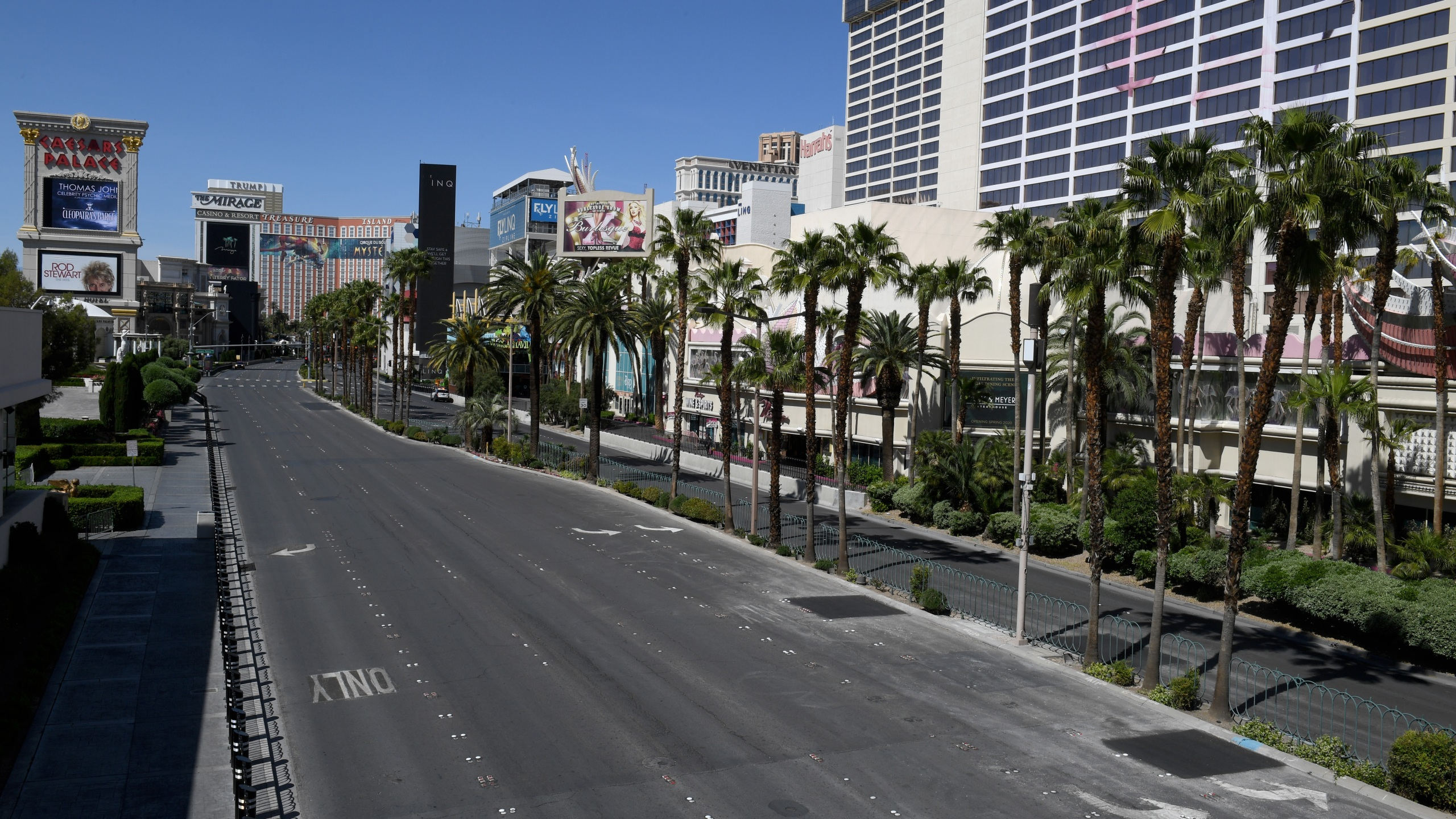A view of the Las Vegas Strip between Caesars Palace and Flamingo Las Vegas shows almost no vehicle or pedestrian traffic as the coronavirus continues to spread across the U.S. on April 24, 2020. (Ethan Miller/Getty Images)