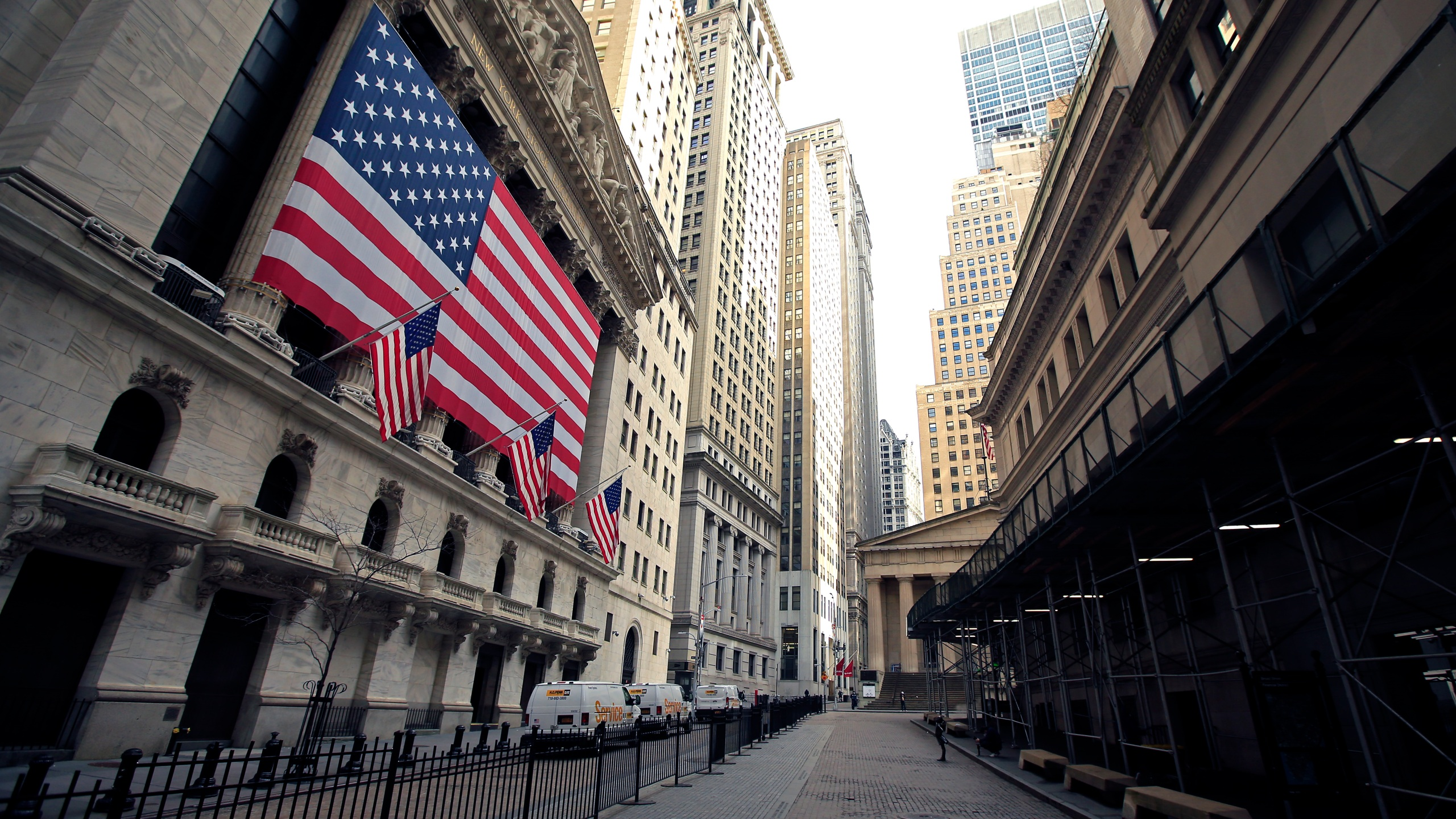 The New York Stock Exchange near Wall Street is seen on April 25, 2020 in New York City. (Justin Heiman/Getty Images)