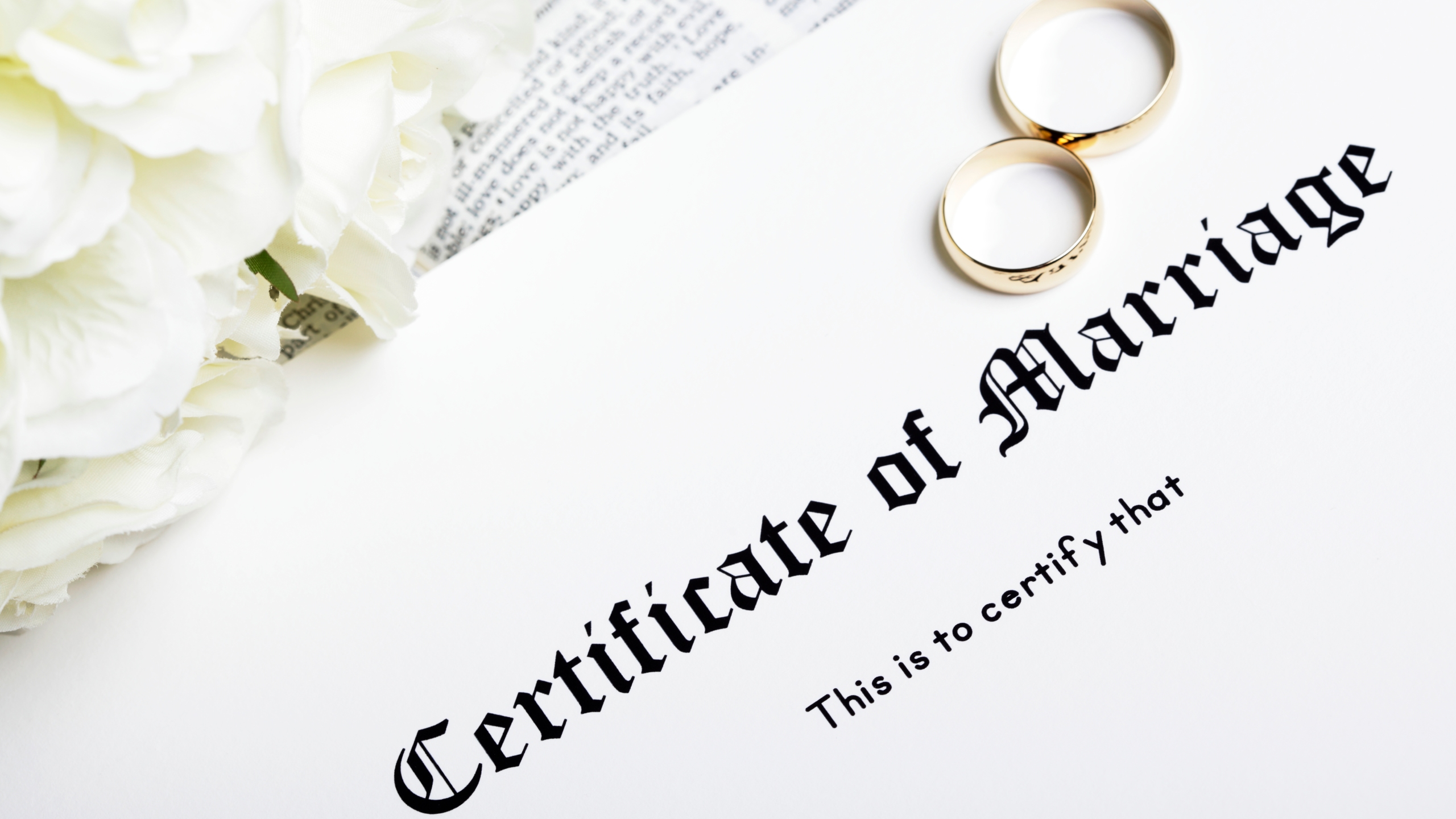 A marriage certificate appears in this image from Getty Images.