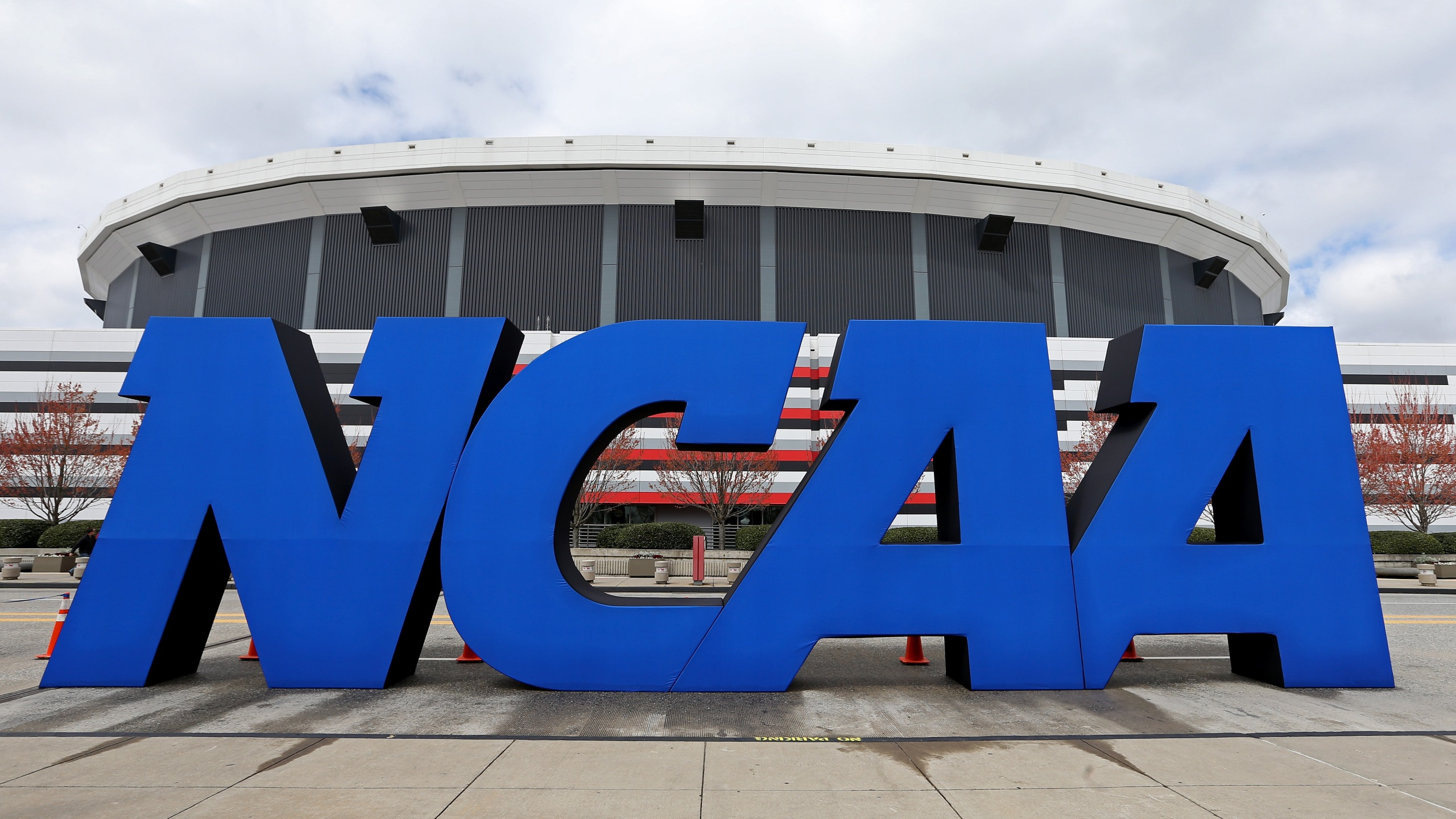 The NCAA logo is seen outside the Georgia Dome on April 5, 2013 in Atlanta. (Streeter Lecka/Getty Images)