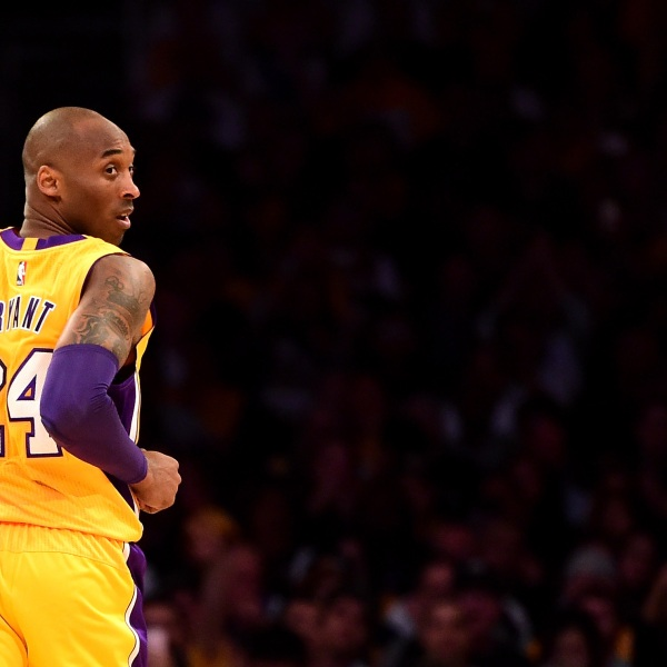 Kobe Bryant #24 of the Los Angeles Lakers looks back in the first half while taking on the Utah Jazz at Staples Center on April 13, 2016, in Los Angeles, California. (Harry How/Getty Images)