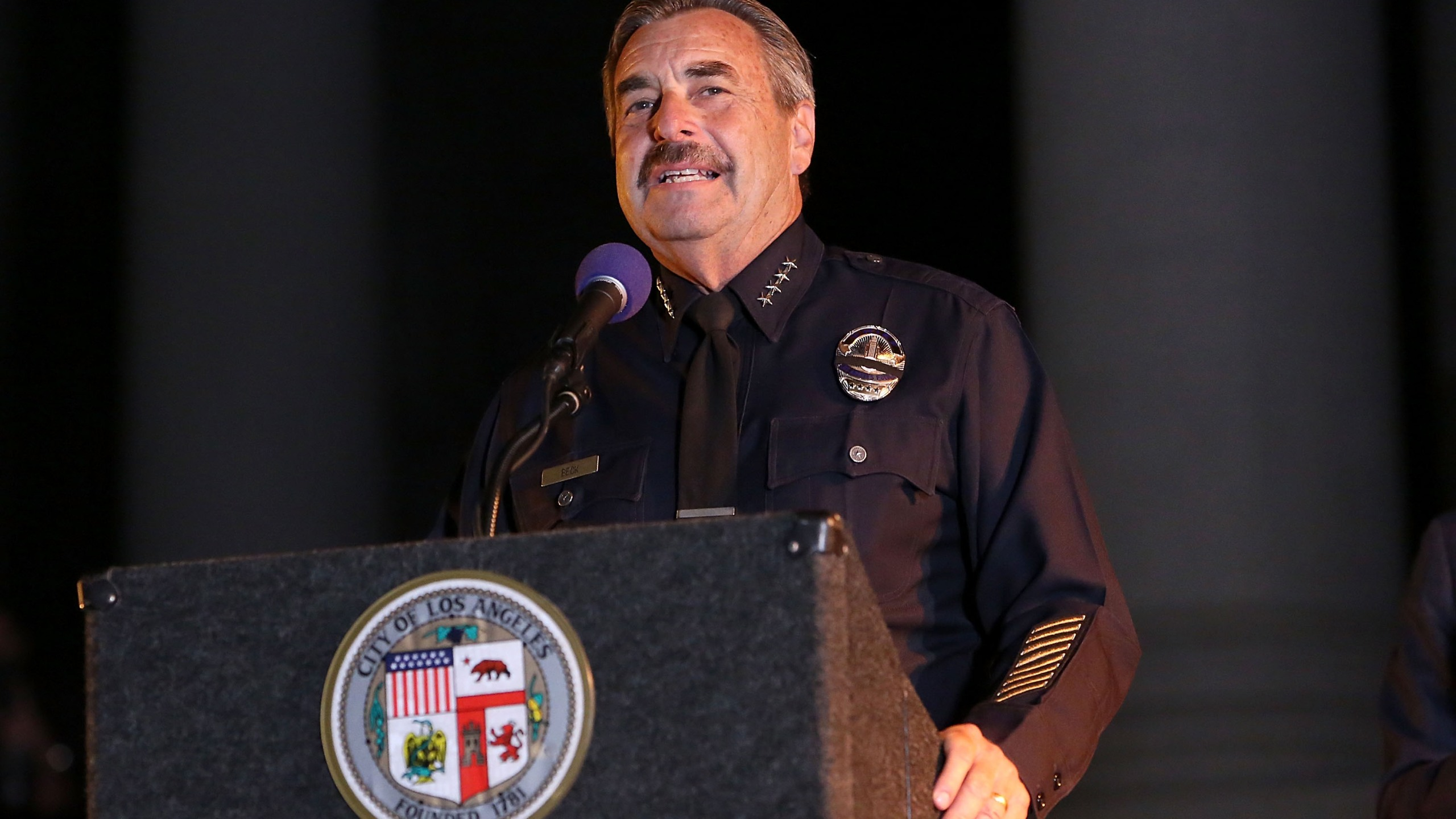 Los Angeles Police Department Chief Charlie Beck attends a ceremony honoring Adam West at Los Angeles City Hall on June 15, 2017. (Credit: Jesse Grant / Getty Images)